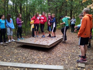 Team balance platform wisconsin ropes course